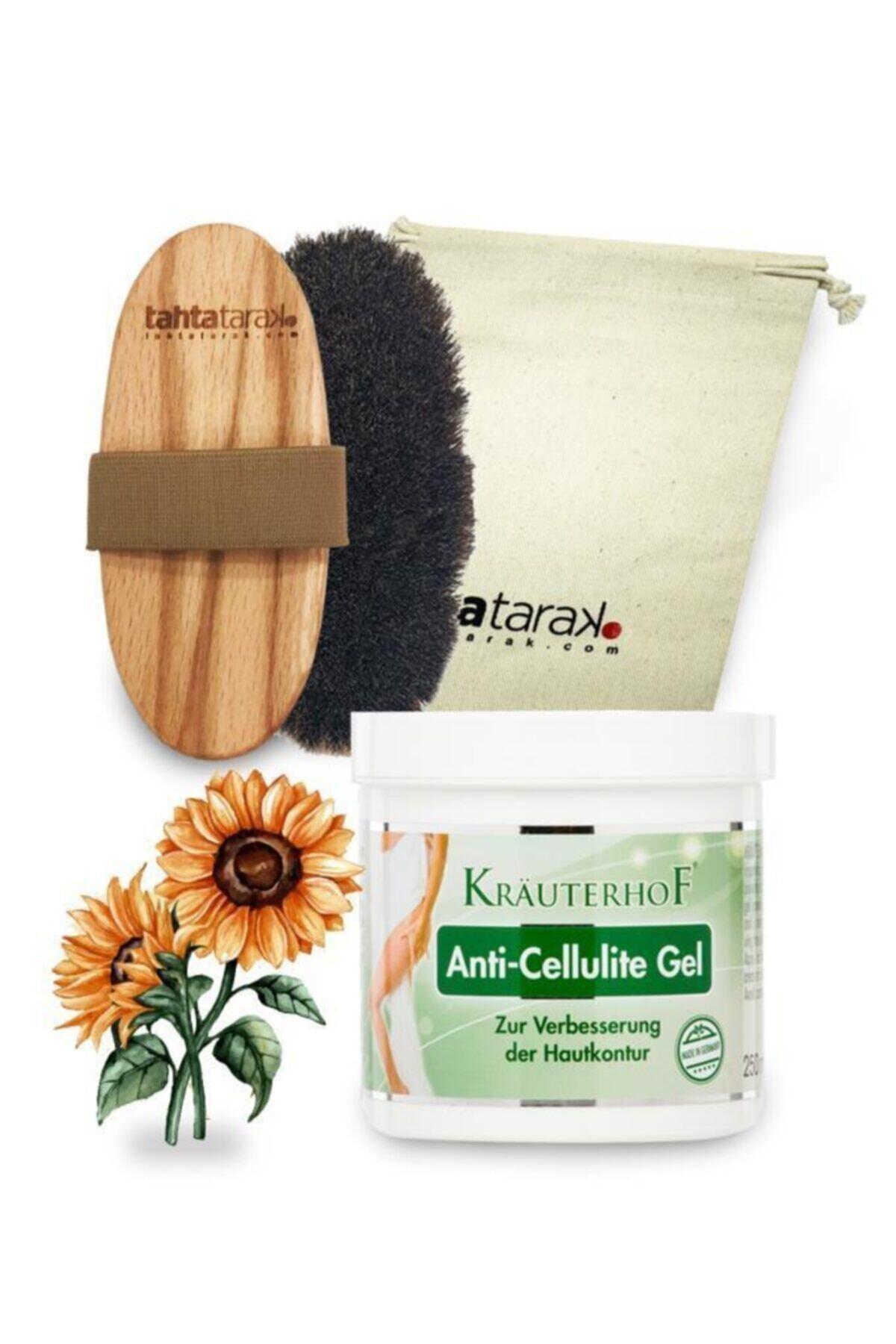 Krauterhof Selülit Karşıtı Doğal At Kılı Fırçası + Anti-cellulite Selülit Jeli 250 ml 1