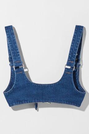 Bershka Kadın Soluk Mavi Tokalı Denim Askı