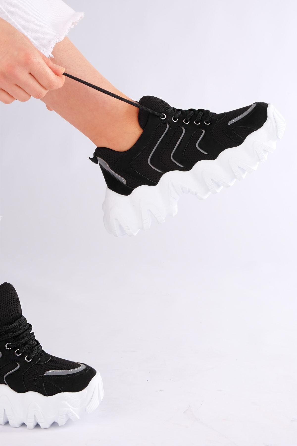 Marjin Kadın Siyah Sneaker Dolgu Topuk Spor Ayakkabı Santa 2