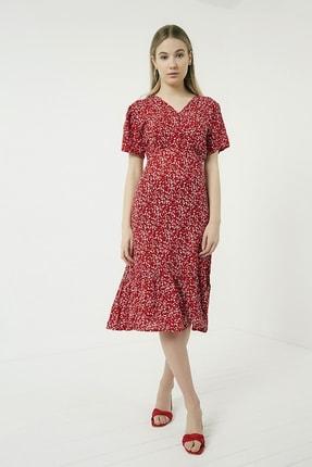 Vis a Vis Kadın Kırmızı-Beyaz Yaka Düğmeli Eteği Volanlı Desenli Viskon Elbise STN781KEL116