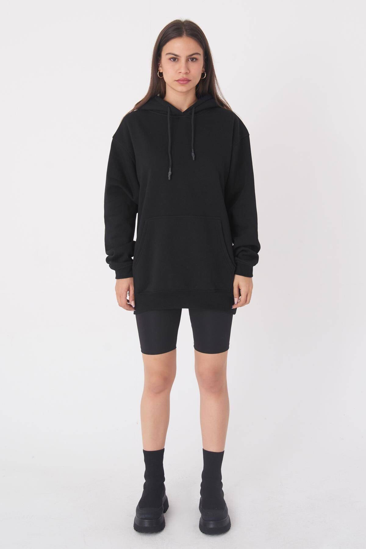 Addax Kadın Siyah Kapüşonlu Oversize Sweat S0925 - N4 - P3 ADX-0000022256 1