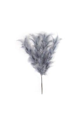 Laden Dekoratif Gri Kuş Tüyü Buket -55 Cm-4 Dal