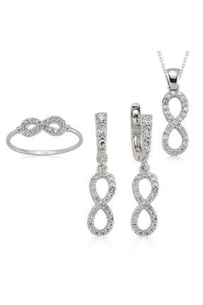Gumush Kadın Beyaz Sonsuzluk Gümüş Set