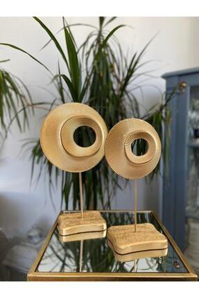 GOGKA Dekoratif Simetrik Halka 2 Li Gold Masa Üstü Sehpa Ev Ofis Dekoratif Biblo Ürün Dekorasyon Tasarım