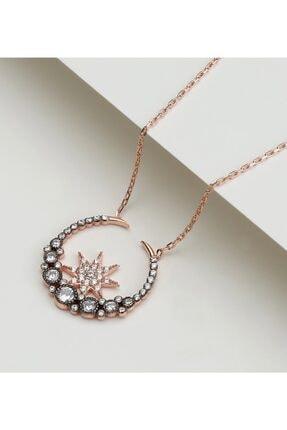 Gümüşistan 925 Ayar Gümüş Şık Tasarım Taşlı Ay Yıldız Kolye