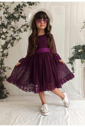 Mixie Kız Çoçuk Mor Şapkalı Güpürlü Prenses Model Elbise