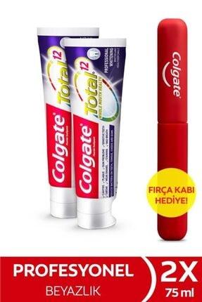 Colgate Total Profesyonel Beyazlık Beyazlatıcı Diş Macunu 75 ml x 2 Adet + Fırça Kabı Hediye