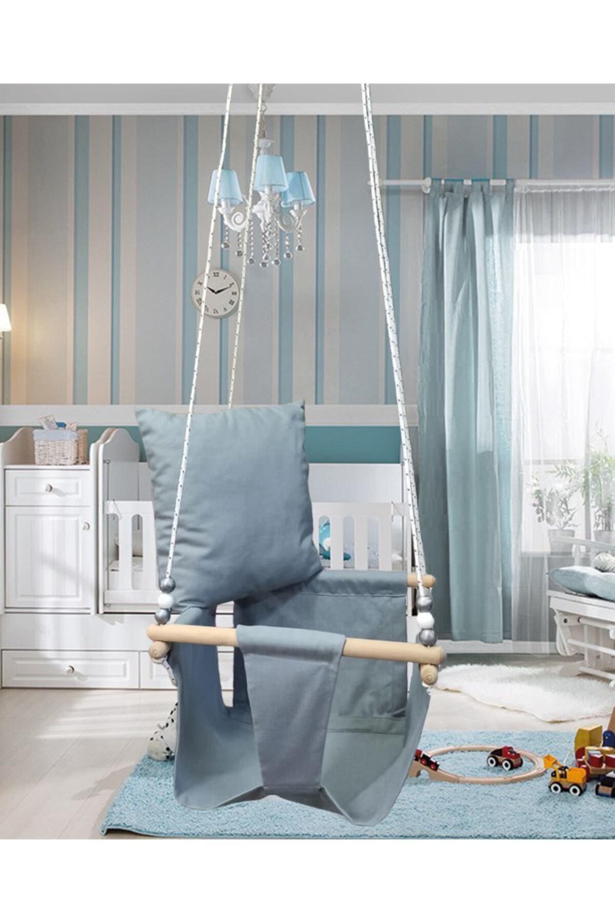 Altev Ahşap Düz Renk Bebek Çocuk Bahçe Salıncağı Hamak Tavan Salıncağı Ev Salıncağı 1