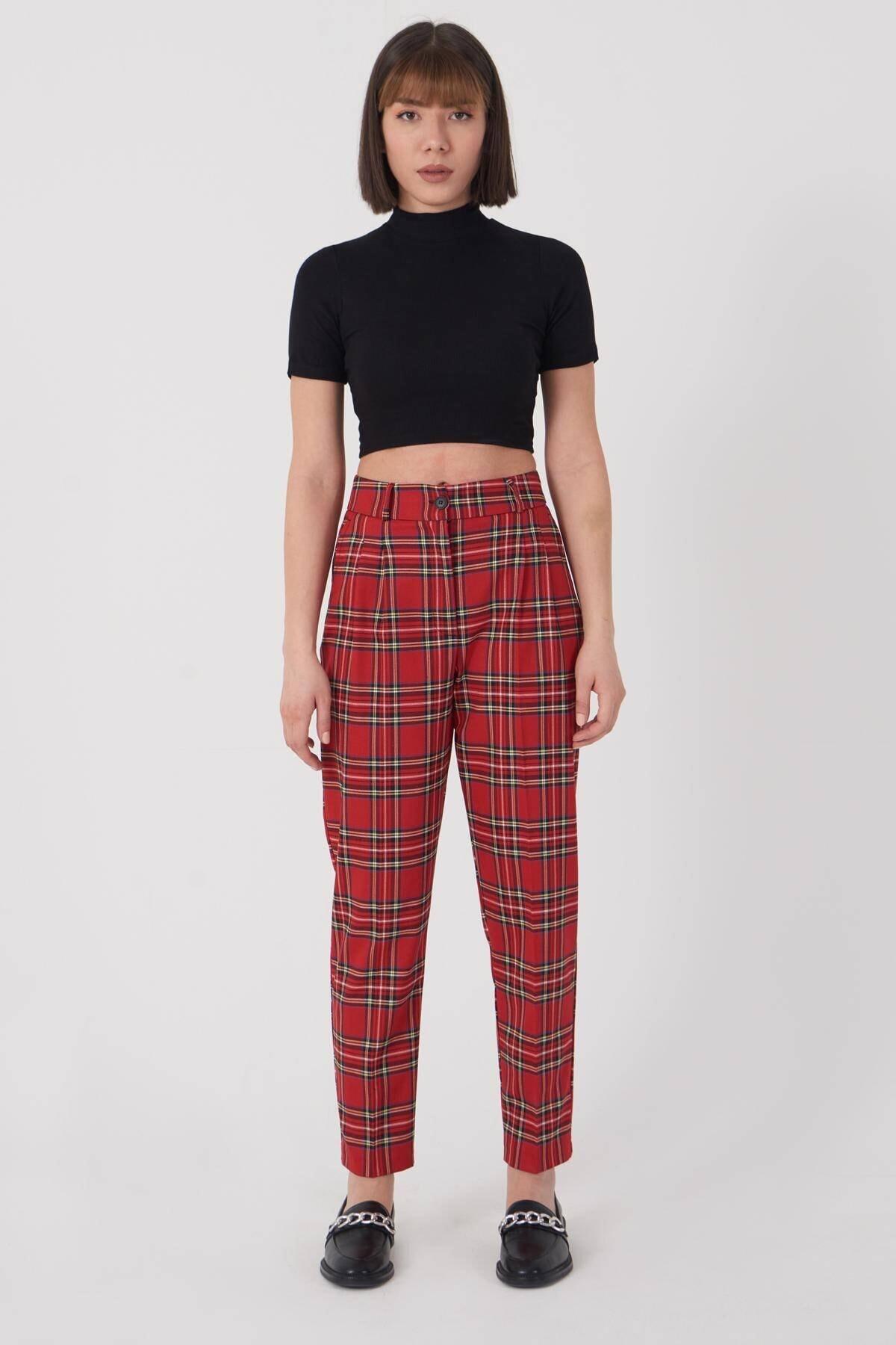 Addax Kadın Kırmızı Ekoseli Pantolon PN21-0222 - X6 ADX-0000023709
