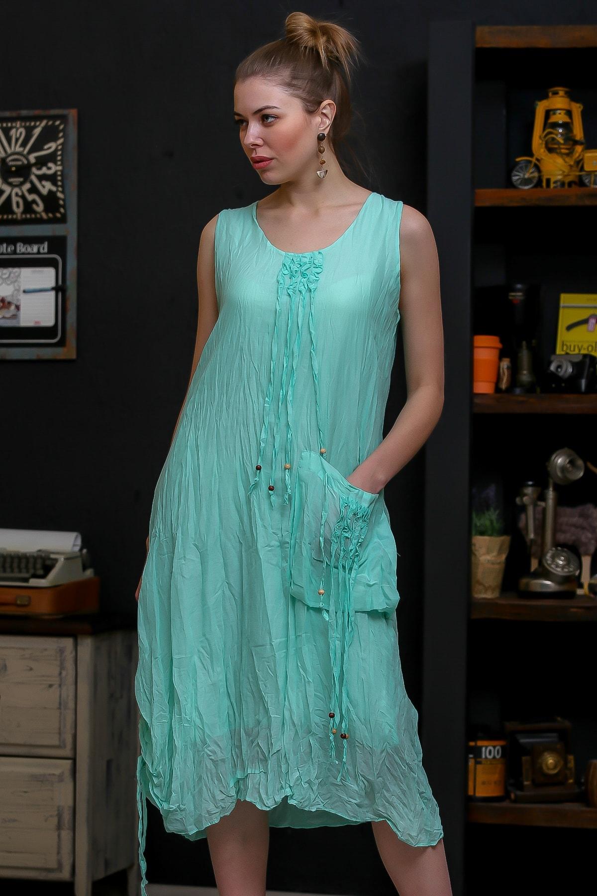 Chiccy Kadın Mint Ahşap Boncuklu Biye Detaylı Dev Cepli Salaş Astarlı Dokuma Elbise M10160000EL95751