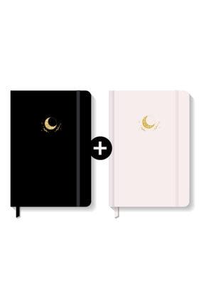 AKILLICA Notebook Lastikli Sert Kapak Noktalı Defter Seti 13x21 Cm Hardcover Notebook Black+powder Color