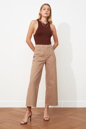 TRENDYOLMİLLA Taş Cep Detaylı Yüksek Bel Culotte Jeans TWOAW20JE0267