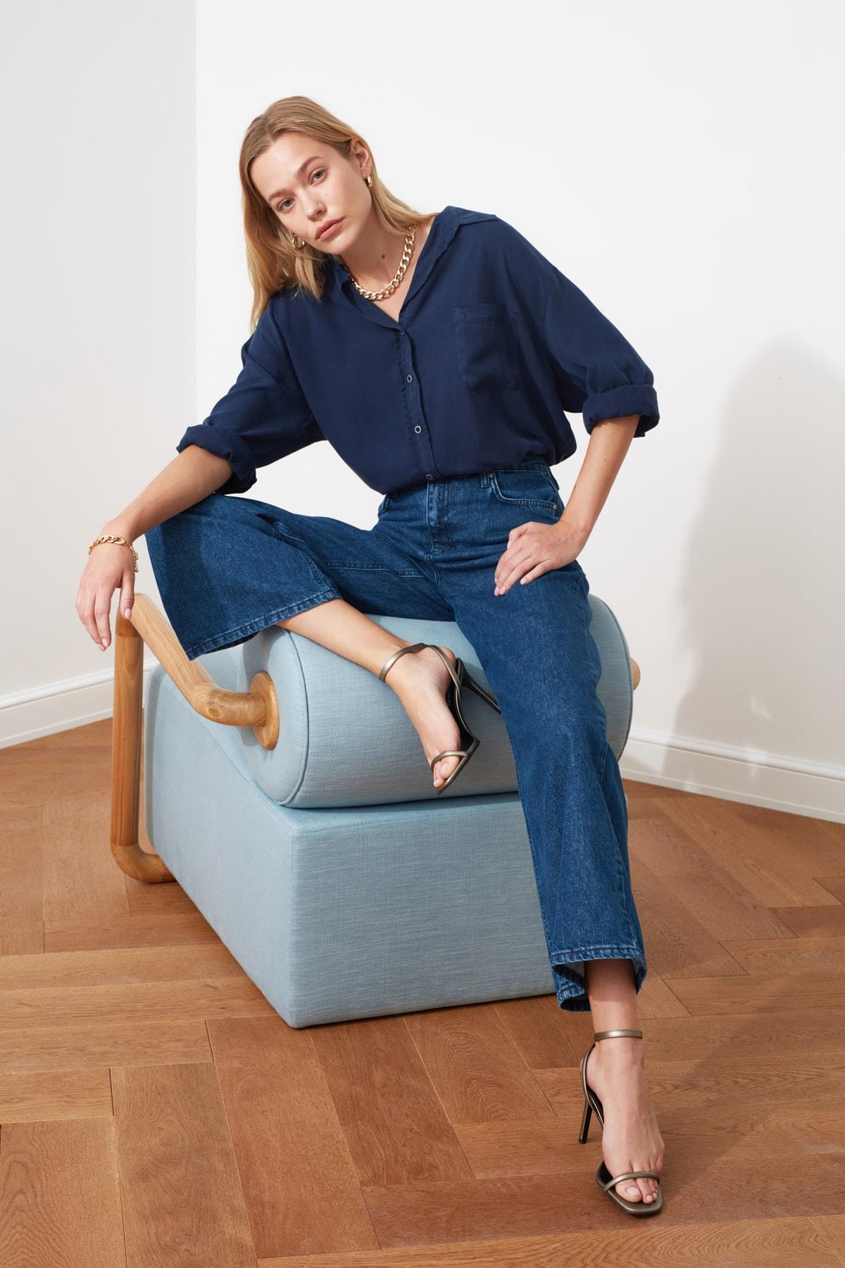 TRENDYOLMİLLA Lacivert Yüksek Bel Culotte Jeans TWOSS20JE0141 2