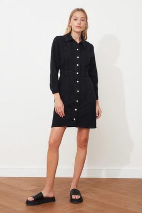 TRENDYOLMİLLA Siyah Dikiş Detaylı Denim Elbise TWOAW21EL1423