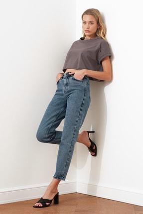 TRENDYOLMİLLA Indigo Yüksek Bel Mom Jeans TWOAW21JE0515