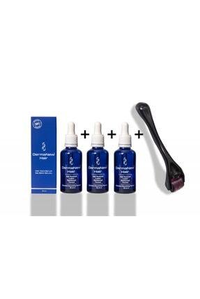 dermanew hair Mavi Su Saç Serum Saç Gürleştirici 3 Adet Serum + Roler Hediyeli 3x50ml Sağlık Bakanlığı Onaylı