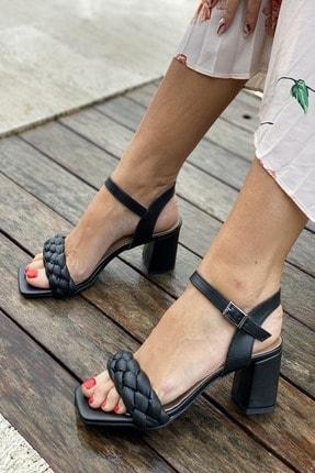 İnan Ayakkabı Küt Burun Örgü Tek Bant Topuklu Ayakkabı