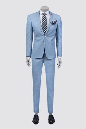 D'S Damat Erkek Mavi Armürlü Takım Elbise