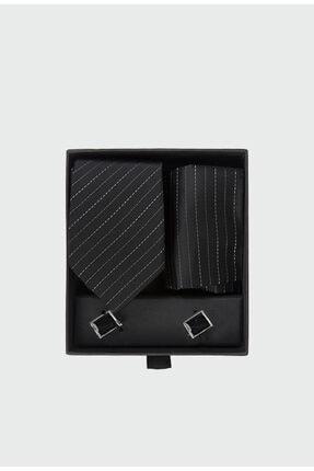 D'S Damat Standart Kravat Mendil Kol Düğmesi Kravat-mendil Set
