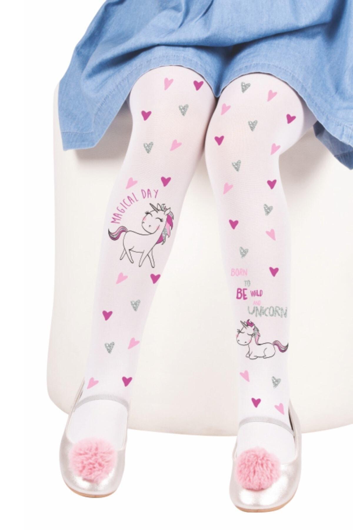 CYKgiyim Kız Çocuk Beyaz Daymod Çisem Külotlu Çorap 1