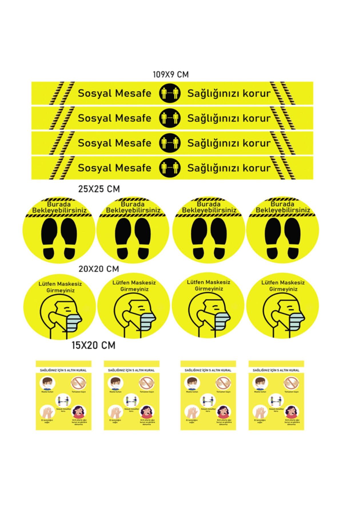 ELF Sosyal Mesafe Uyarı Sticker 5 Li Set 20 Adet Sarı Dp 600 1
