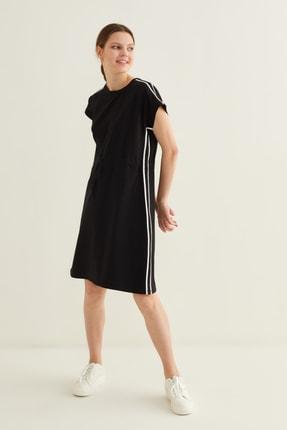 adL Kadın Siyah Şerit Detaylı Örme Elbise