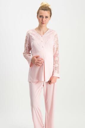 Arnetta Chic Mommy Pudra Kadın Lohusa Pijama Takımı