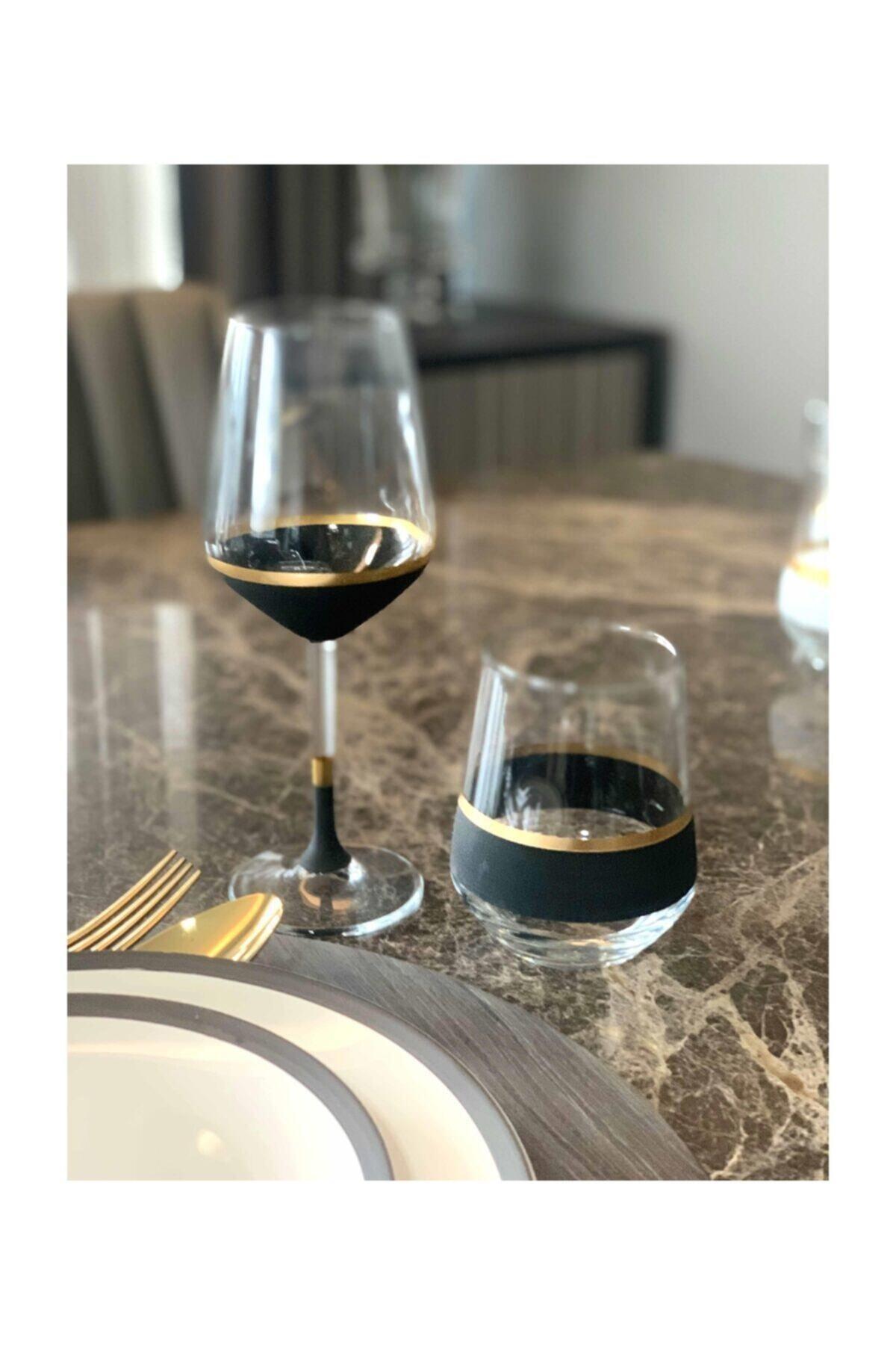 The Mia Siyah & Gold Glow Şarap Kadehi 6'lı Set 2