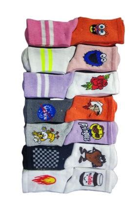 SOYTEMİZ ÇORAP Unisex Renkli 12 Çift Farklı Desen Toplam Kolej Çorabı 12 Adet