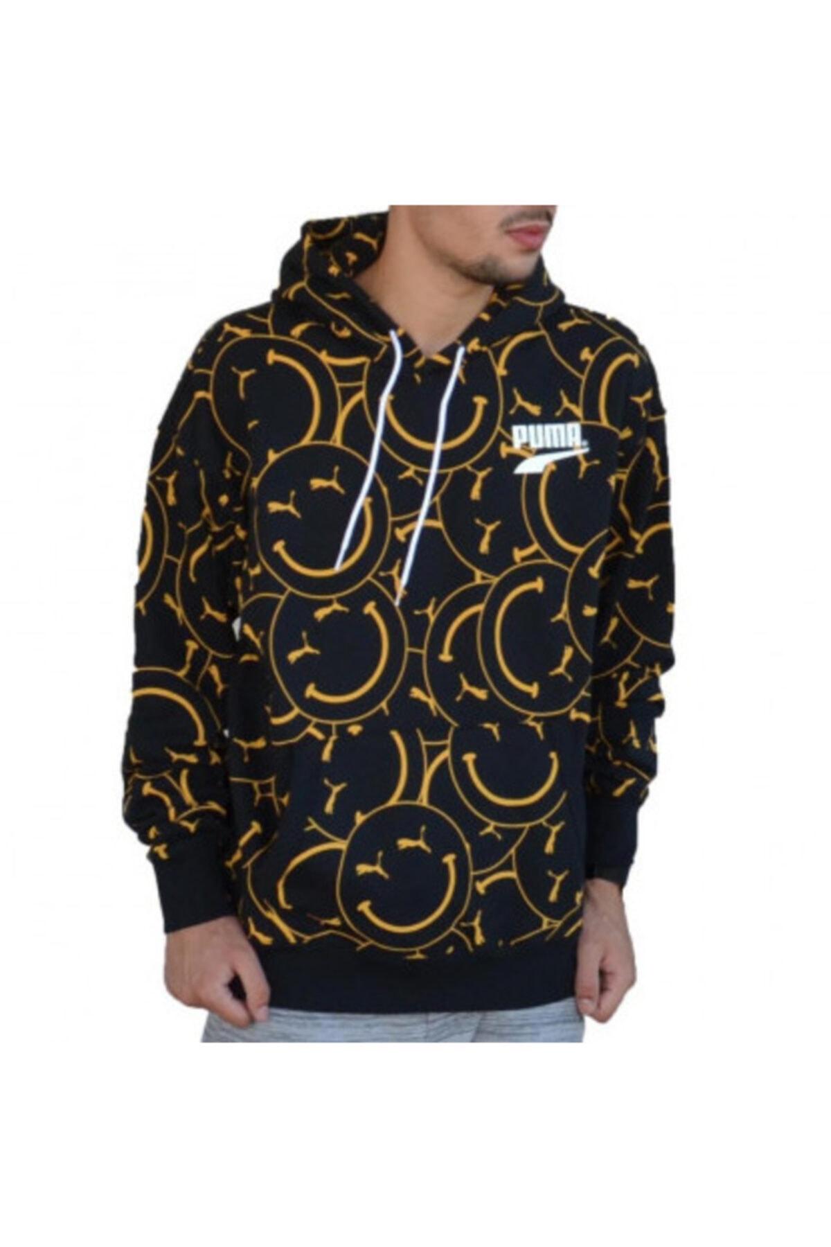Puma Erkek Siyah Club Aop Hoodie Tr Sweatshirt 1