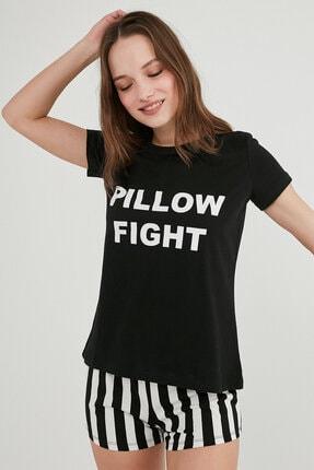 Penti Siyah Base Pillow Ss Şort Pijama Takımı