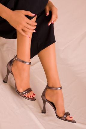 SOHO Platin Mat Rugan Kadın Klasik Topuklu Ayakkabı 15839