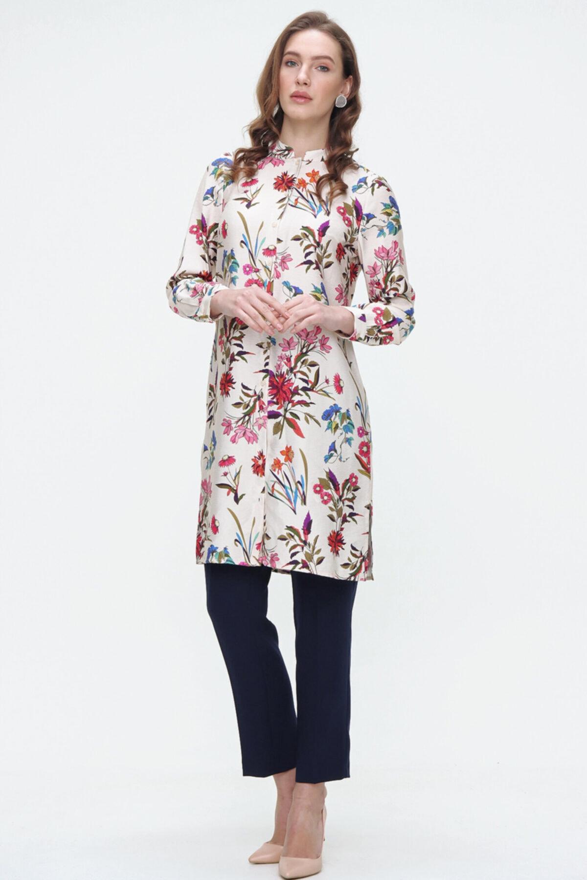 Aker Kadın Yeşil Çiçek Desenli Uzun Kol Tunik 155002020 1