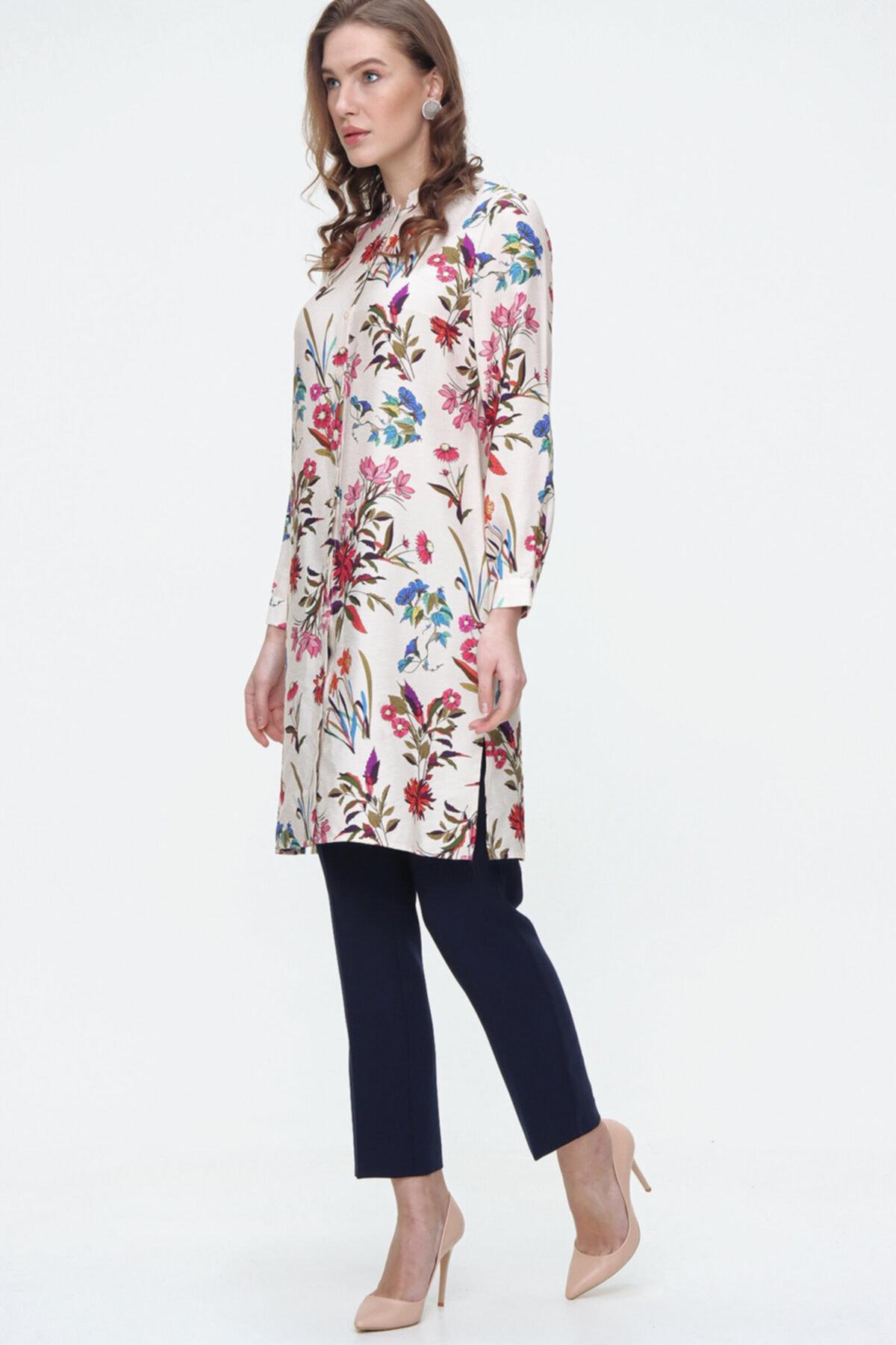 Aker Kadın Yeşil Çiçek Desenli Uzun Kol Tunik 155002020 2
