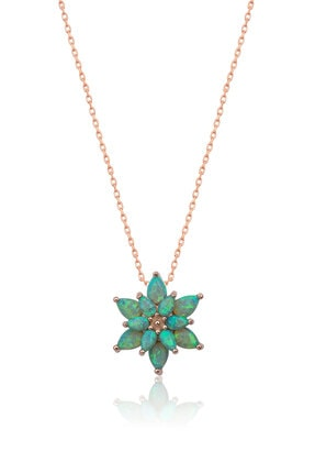 Papatya Silver 925 Ayar Yeşil Opal Taşlı Gümüş Lotus Kolye