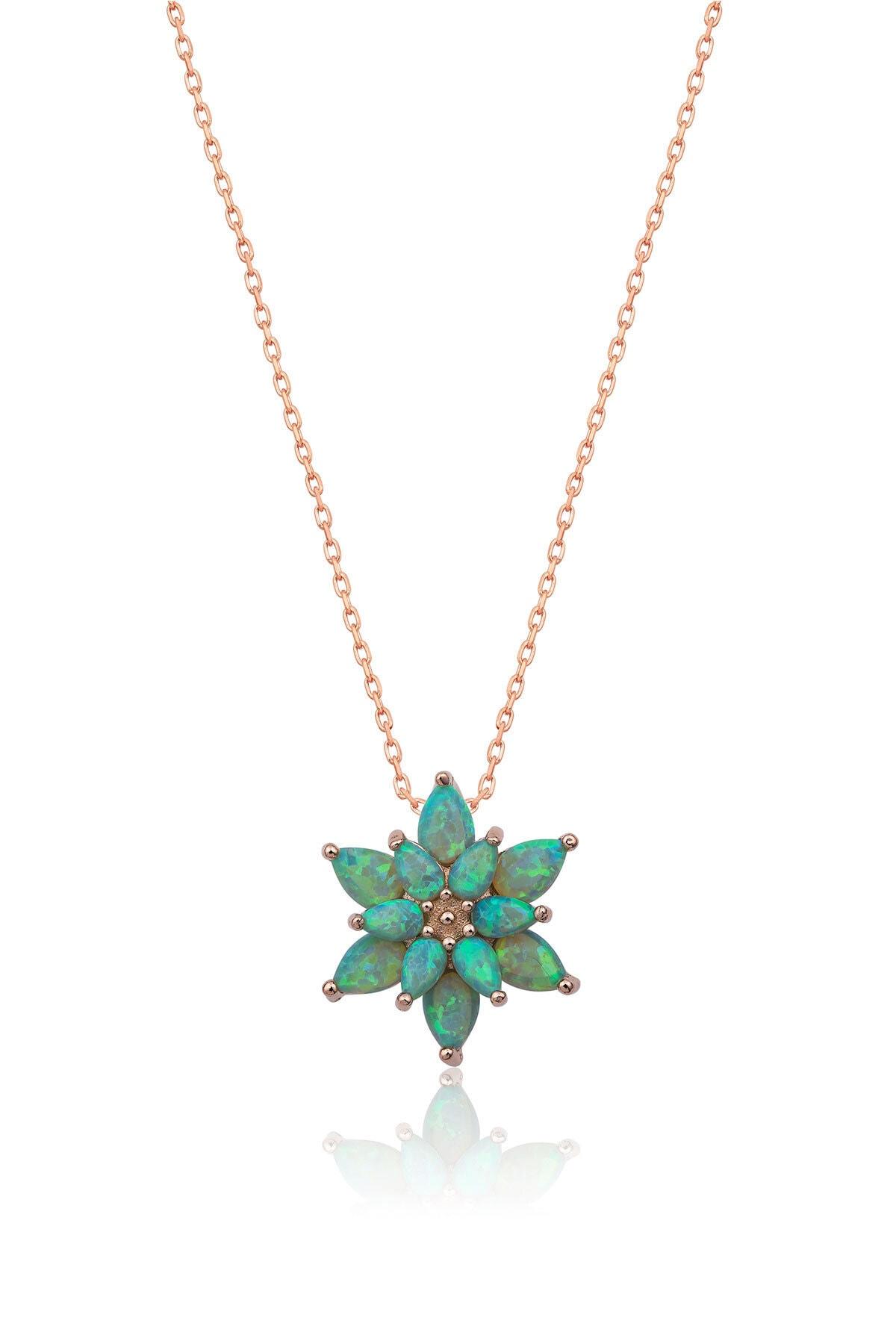 Papatya Silver 925 Ayar Yeşil Opal Taşlı Gümüş Lotus Kolye 1