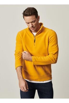 AC&Co / Altınyıldız Classics Erkek Sarı Standart Fit Günlük Rahat Fermuarlı Bato Yaka Spor Polar Sweatshirt