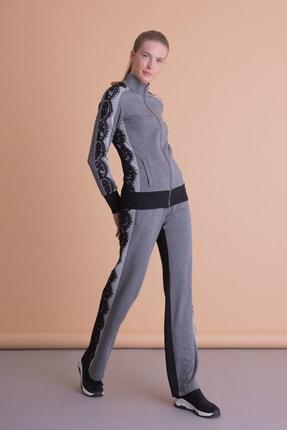 xGIZIA Kadın Gri Siyah Dantel Detaylı Sweatshirt