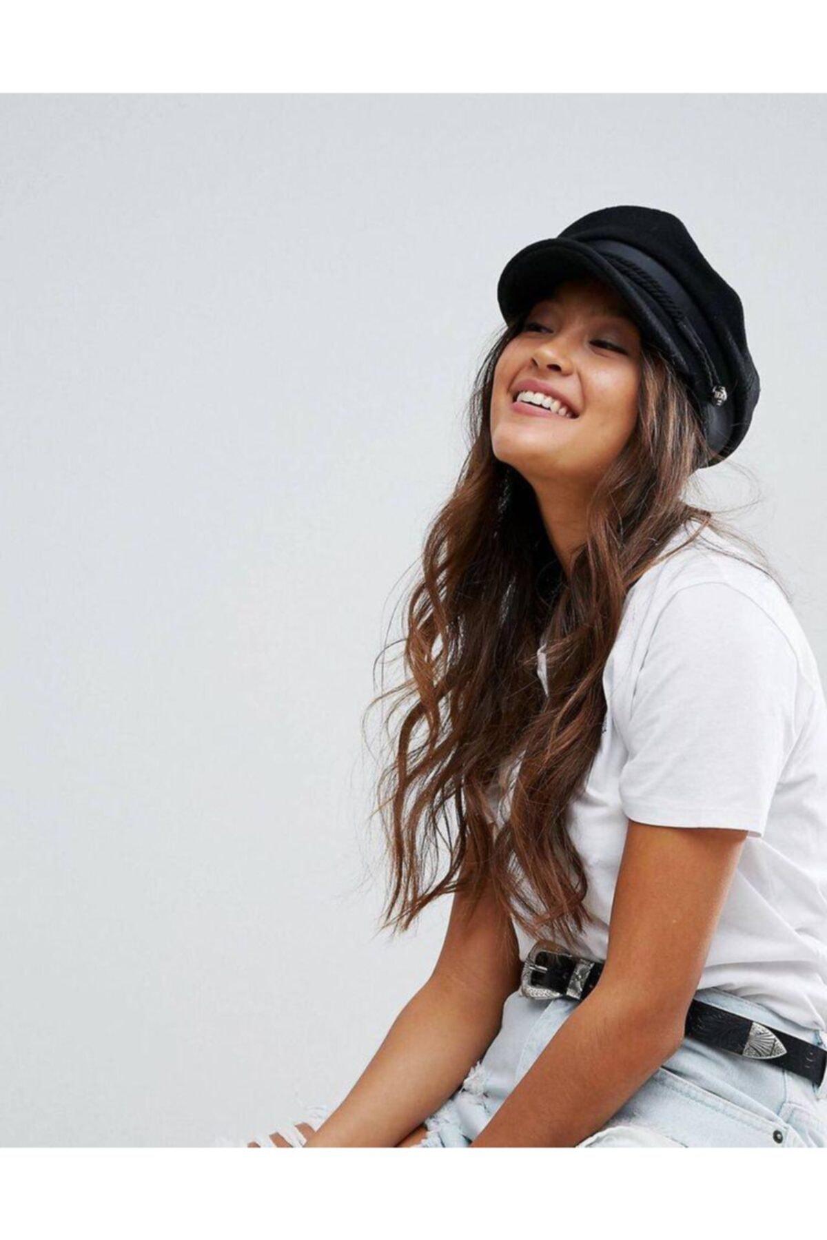 Mathilda Aksesuar Bayan Kasket Şapka Siyah 2