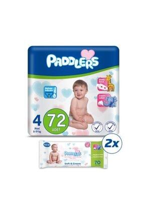 Paddlers Bebek Bezi 4 Numara Maxi 72 Adet (8-19 Kg) + 2 Adet 70 Li Islak Havlu 2 Li Fırsat Seti