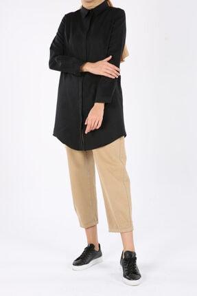 ALLDAY Siyah Gizli Patlı Pamuklu Gömlek Tunik
