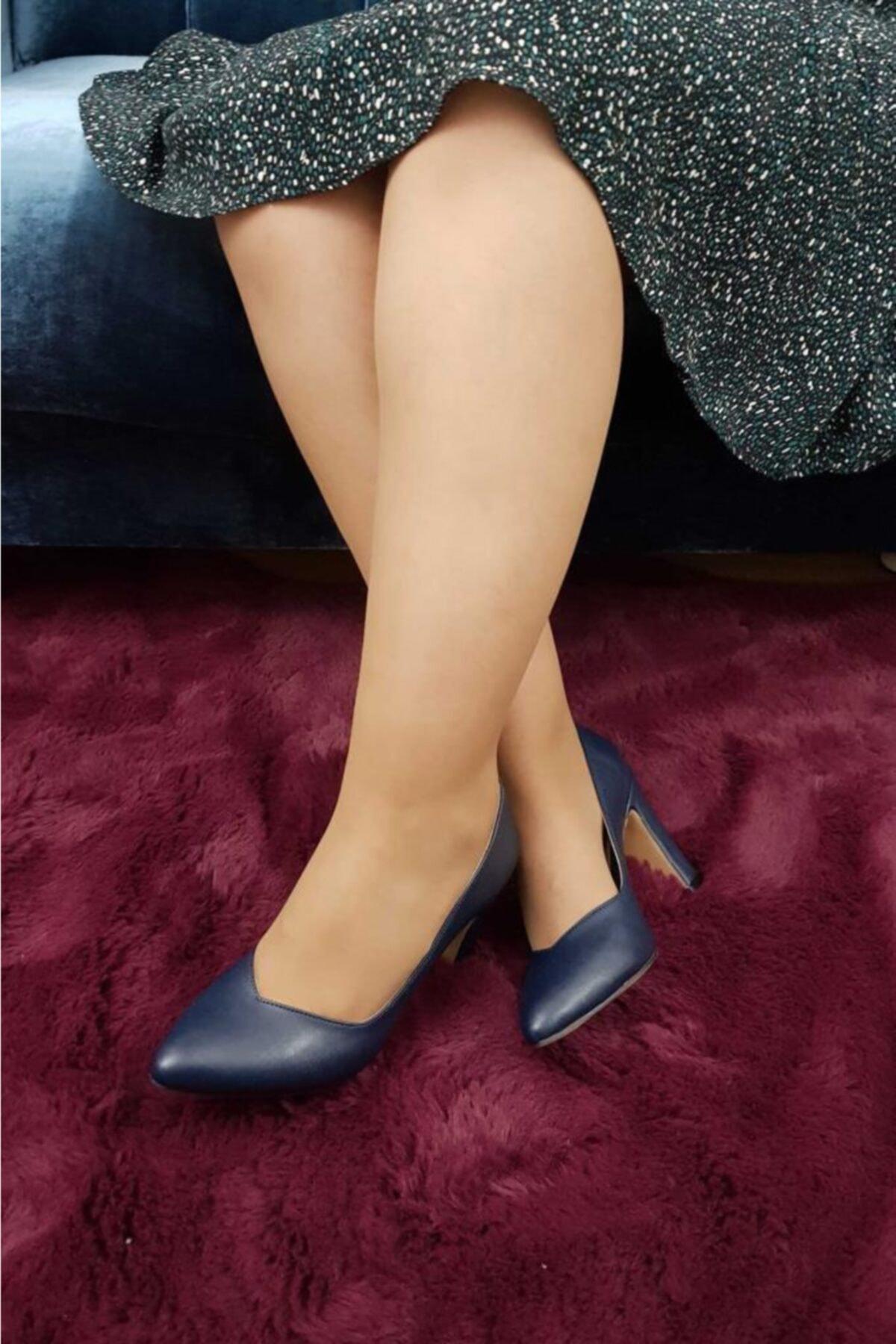 TREND Kadın Lacivert Topuklu Ayakkabı Ox09 1