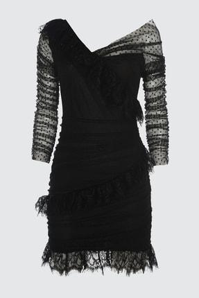 TRENDYOLMİLLA Siyah Dantel Detaylı Tül Elbise TPRSS21EL1411