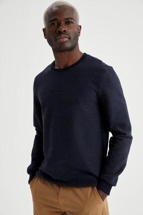 DeFacto Erkek Lacivert Basic Regular Fit Bisiklet Yaka Sweatshirt