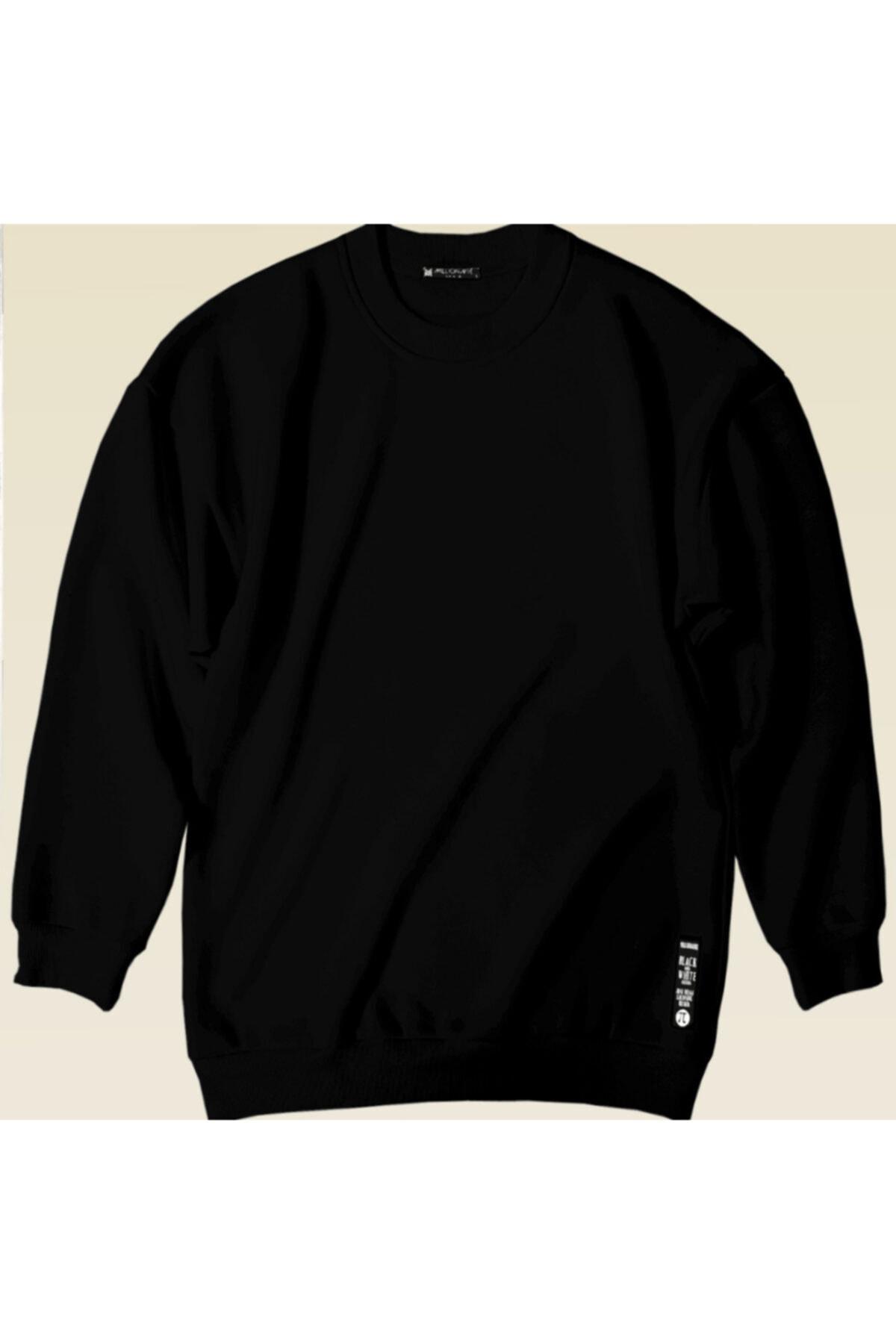 Millionaire Kadın Siyah Basic 0 Sıfır Yaka Baskısız Düz Oversize Salaş Bol Kesim Polar Sweatshirt 1
