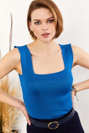 Olalook Kadın Mavi Kalın Askılı Yazlık Triko Bluz BLZ-19000853