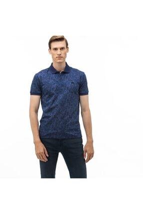 Lacoste Erkek Slim Fit Desenli Lacivert Polo Yaka T-Shirt