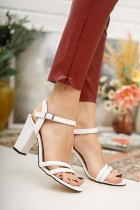 MUGGO Kadın Beyaz Topuklu Ayakkabı Mggzhw724