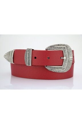 LENA KEMER Kadın Kırmızı Gümüş Tokalı Kemer