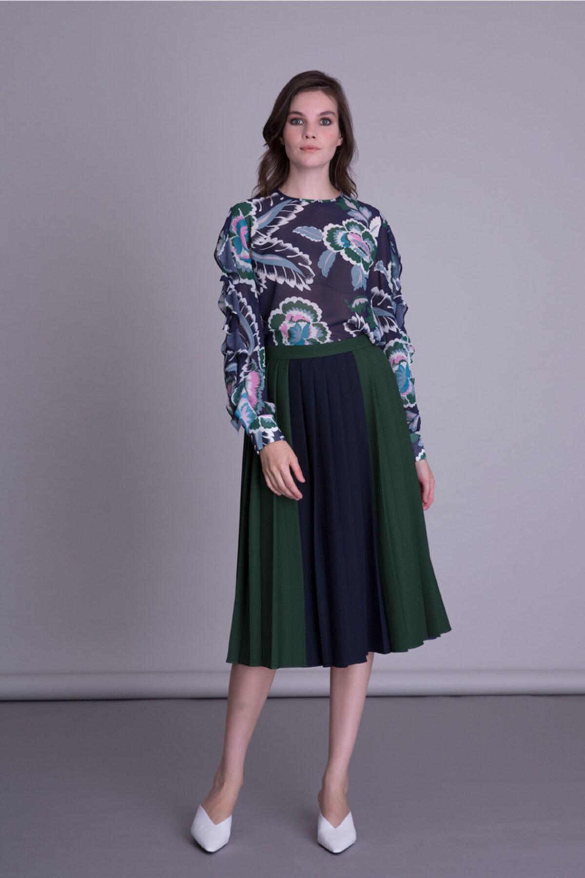 GIZIA CASUAL Kadın Mor Çiçek Desenli Bluz 2